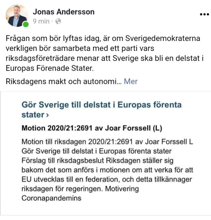 Sverigedemokraterna - Liberalerna - Sabuni - Jonas Andersson